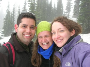 "Francisco, Maggie, and I brave the snowy ""trail."""
