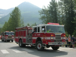 Firetrucks kick off the Girdwood town parade