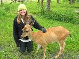 Me with Jewelie the Sikta black-tailed deer. She is graceful, sweet, and beautiful.