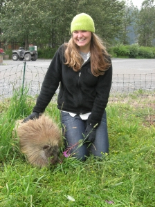 Me with Snickers the porcupine. He's pretty sassy!